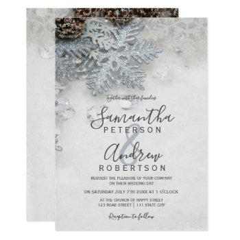 winter wonderland silver snow typography wedding invitation