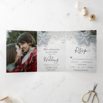 winter wonderland silver snow typography wedding tri-fold invitation