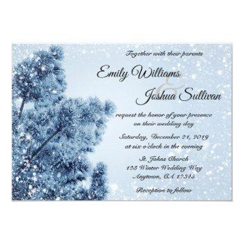 winter wonderland snow and pine wedding invitation