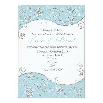 winter wonderland  snowflake swirl invitation