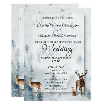 winter woodland holiday wedding invitation