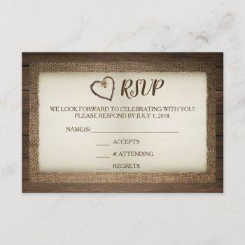 wood, burlap & twine heart wedding rsvp card