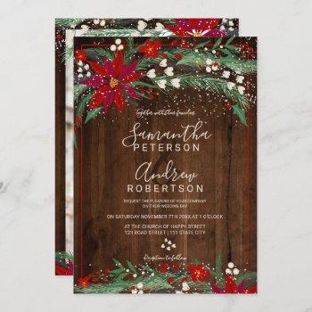 wood christmas floral wreath snow photo wedding invitation