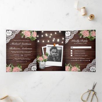 wood lace dusty pink rose string lights wedding tri-fold invitation