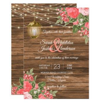 wood, lanterns and coral flower wedding invitation