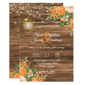 wood, lanterns and orange flower wedding invitation