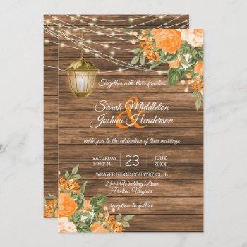 wood, lanterns and orange flower wedding invitation