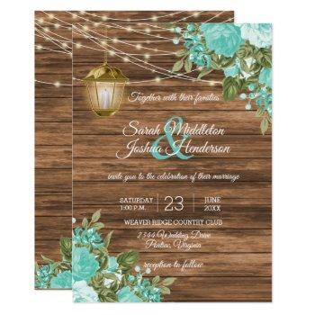 wood, lanterns and teal flower wedding invitation