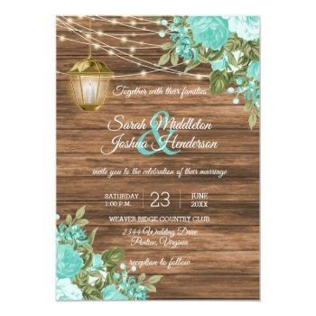 Small Wood, Lanterns And Teal Flower Wedding Invitation Front View