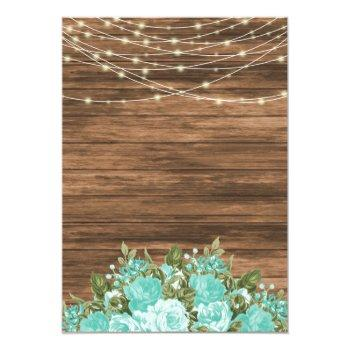 Small Wood, Lanterns And Teal Flower Wedding Invitation Back View