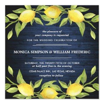 wood & lemons blossom greenery watercolor wedding invitation