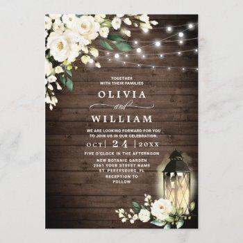 wood white roses lantern rustic watercolor wedding invitation