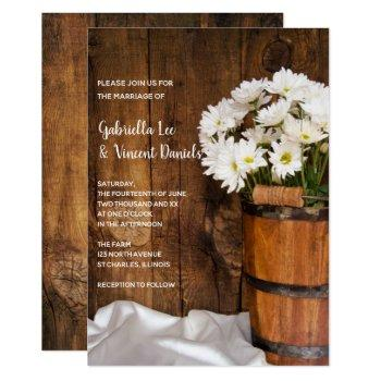 wooden bucket and white daisies barn wedding invitation