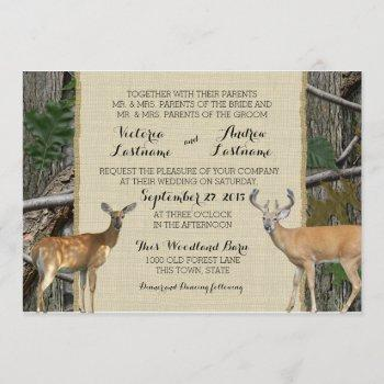 woodland buck and doe wedding invitation
