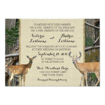 woodland buck and doe wedding invitation