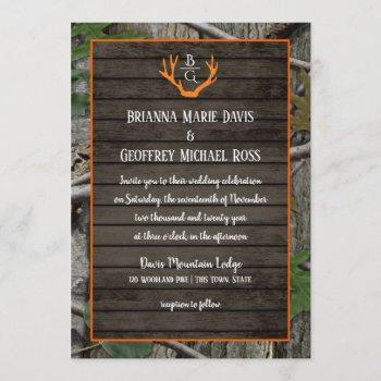 woodland camo antlers monogram wedding invitation