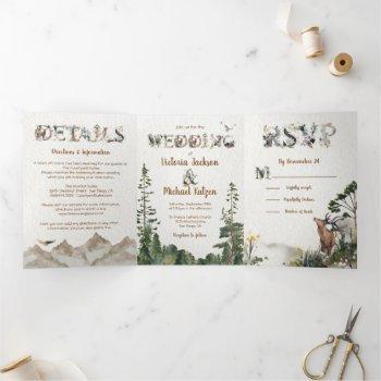 woodland forest mountain watercolor wedding tri-fold invitation