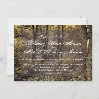 woodland forest trees rustic wedding invitations