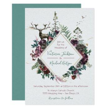 woodland watercolor forest wedding invitations