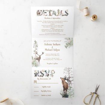 woodland watercolor forest wedding tri-fold invitation