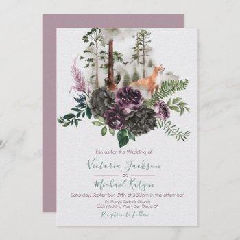 woodland watercolor fox forest wedding invitations