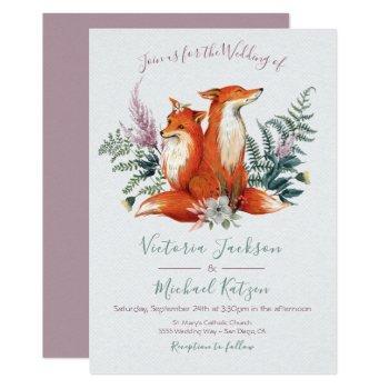 woodland watercolor fox wedding invitations