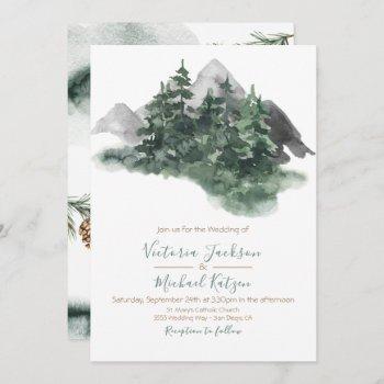 woodland watercolor mountain wedding invitation