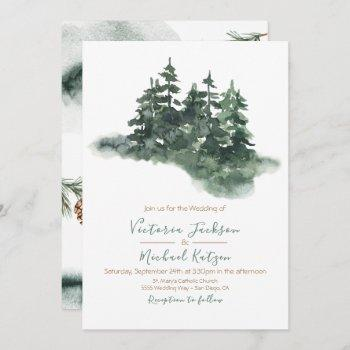 woodland watercolor pine forest wedding invitation