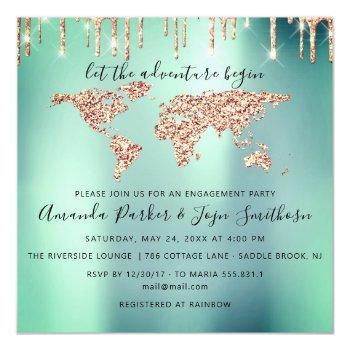 world destination map  globe bridal wedding mint magnetic invitation