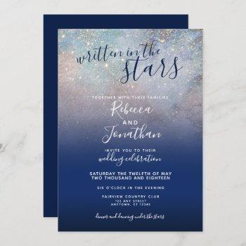 written in the stars navy galaxy wedding invitation