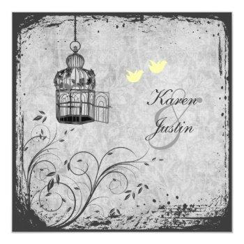 yellow and gray birdcage lovebirds wedding invite