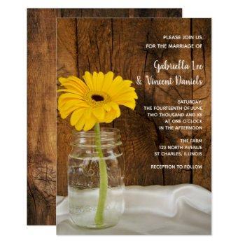 yellow daisy in mason jar country barn wedding invitation