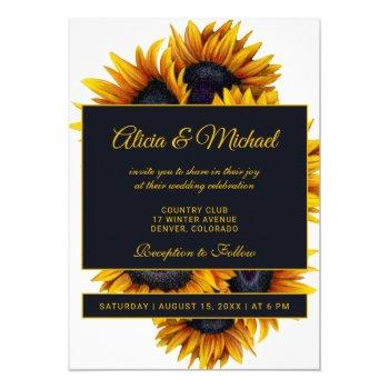 yellow gold sunflowers | modern summer wedding invitation