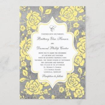 yellow gray white floral damask wedding invitation