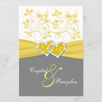 yellow, gray, white joined hearts wedding invite
