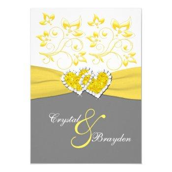 yellow, gray, white joined hearts wedding invite
