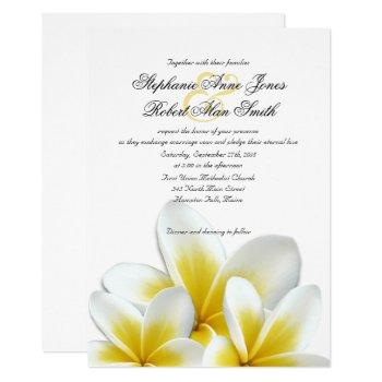yellow hawaiian plumeria frangipani wedding invitation