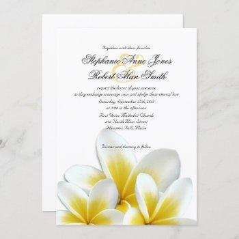 yellow hawaiian plumeria frangipani wedding invitation