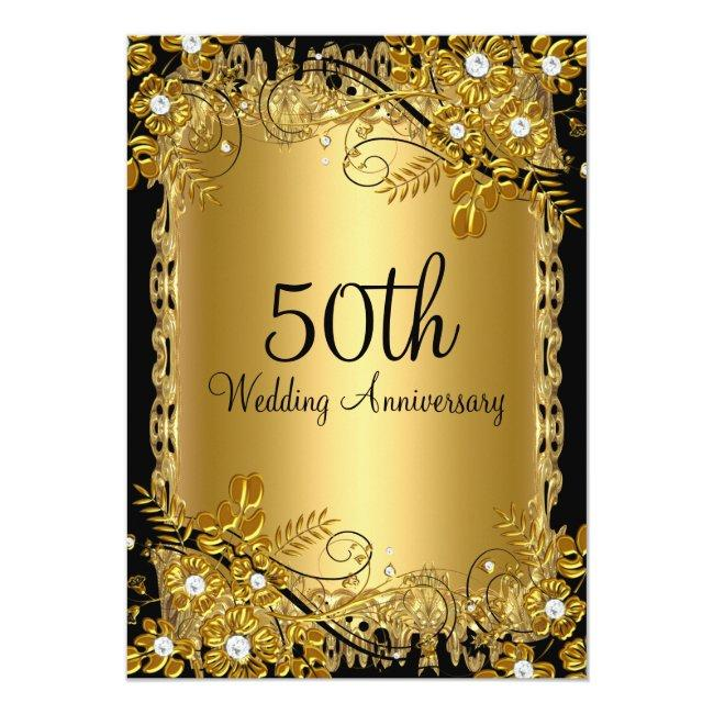 50th Anniversary Gold Black Diamond Floral Swirl Invitation