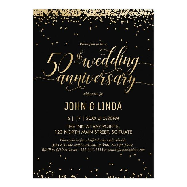 50th Golden Wedding Anniversary Party Invitation