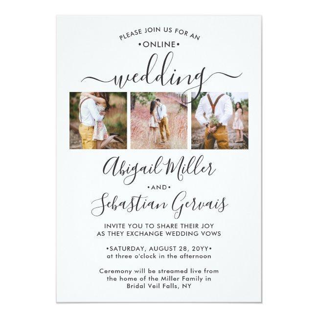 7 Photo Online Virtual Wedding Ceremony Elegant Invitation