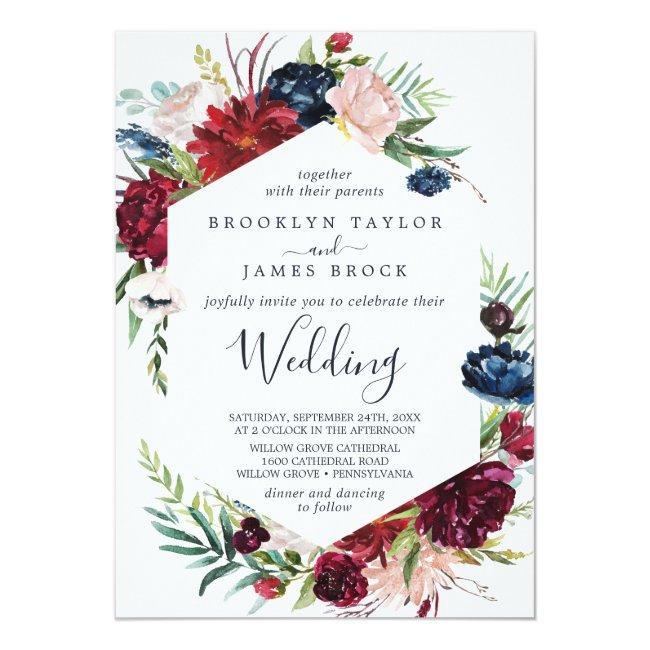 Autumn Garden   Burgundy All In One Wedding Invitation