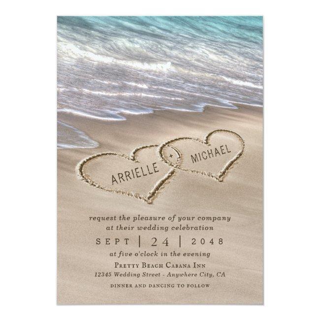 Beach Sand Hearts Elegant Tropical Modern Wedding Invitation