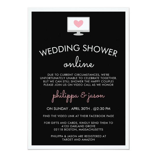 Black Pink Computer Virtual Wedding Shower Invitation