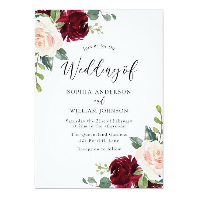 Blush Perfection: Watercolor Floral Wedding Invitation