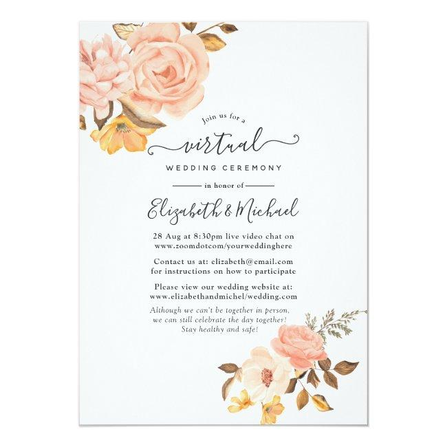 Blush Pink And Gold Floral Online Virtual Wedding Invitation