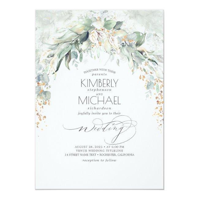 Bohemian Lush Greenery Arch Summer Garden Wedding Invitation