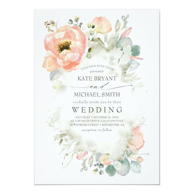 Botanical Peach Flowers Elegant Garden Wedding Invitation