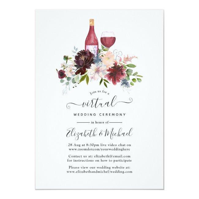 Burgundy And Blush Wine Themed Virtual Wedding Invitation