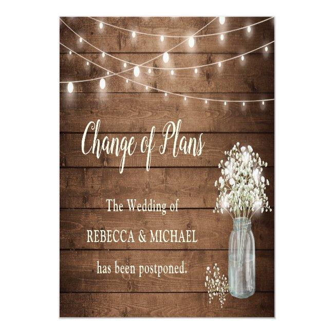 Change Of Plans Baby's Breath Rustic String Lights Postcard
